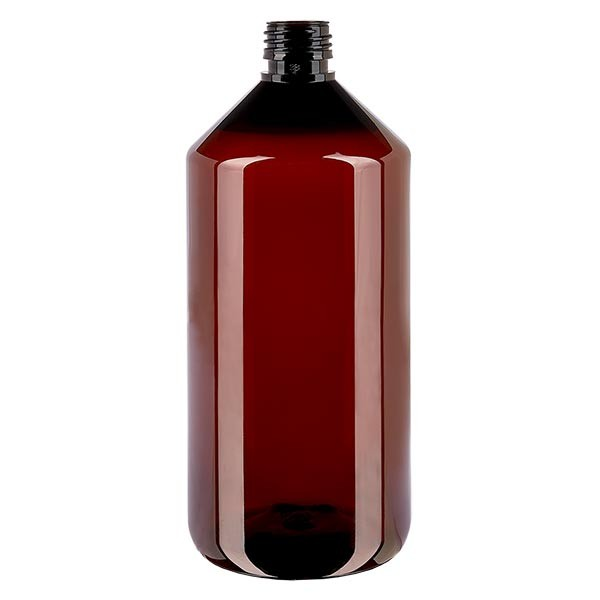 Flacon médical en PET 1000 ml ambré, PP28 sans bouchon