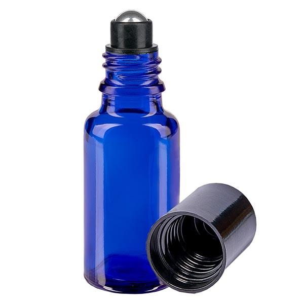 Flacon de déodorant en verre bleu 20 ml, déo à bille vide