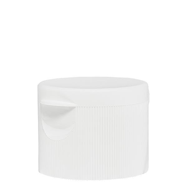 Bouchon blanc + couvercle à charnière ND25, pr flacons à lotion