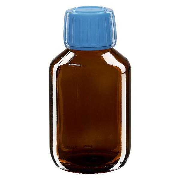 Flacon médical 100 ml couleur ambrée avec bouchon bleue