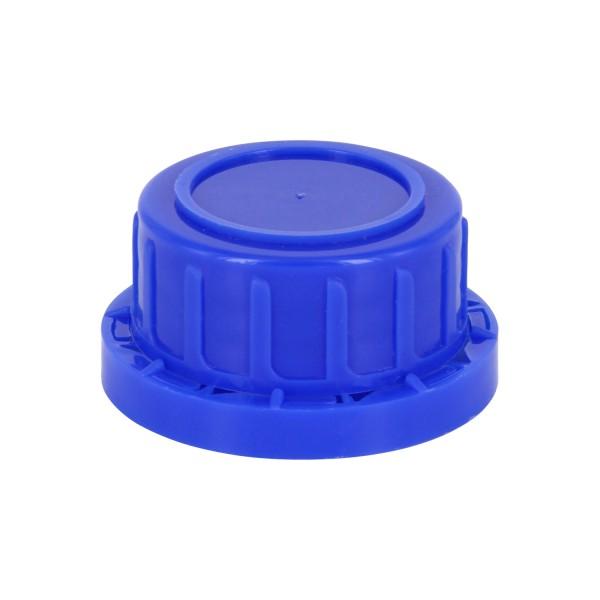 Bouchon à vis inviolable DIN 32 bleu avec insert en PEE, convient aux bouteilles à col large de 100ml (article n°1000001