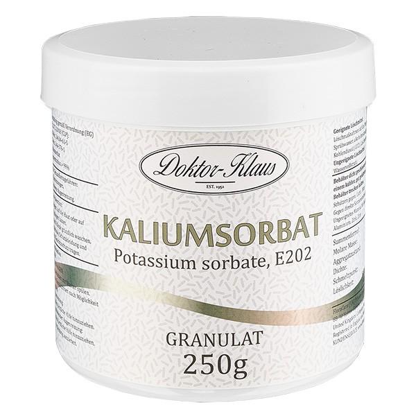 Sorbate de potassium 250g, en pot avec couvercle à vis blanc