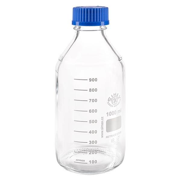 Bouteille à vis de laboratoire 1000 ml + bouchon bleu + bague