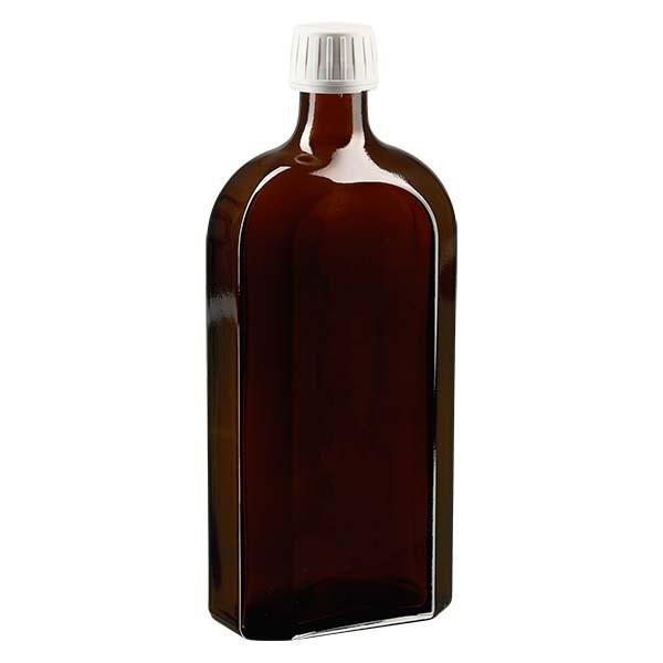 Flasque brune de 500 ml au goulot PP 28, avec bouchon à vis PP 28 blanc, joint en PEE et système d'inviolabilité
