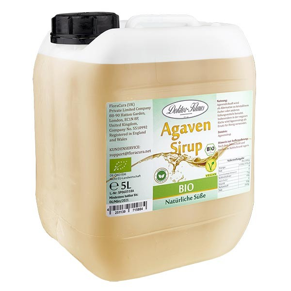 sirop d'agave bio 5000 ml en jerrican transparent