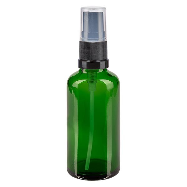 Flacon compte-gouttes vert 50 ml, DIN18 avec spray