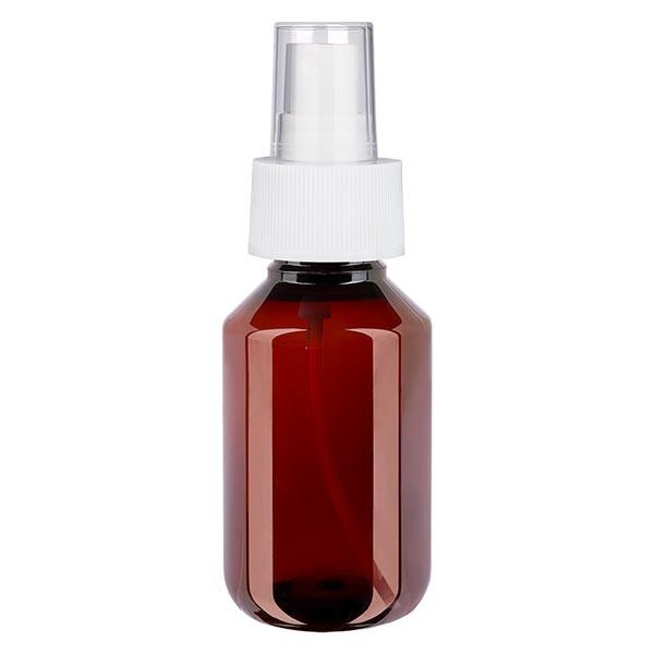 Flacon médical de 100 ml en PET, avec spray blanc GCMI 28/410 et capuchon transparent standard