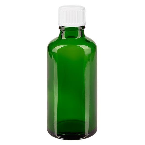 Flacon pharmaceutique vert 50 ml bouchon compte-gouttes 0.8 mm blanc standard