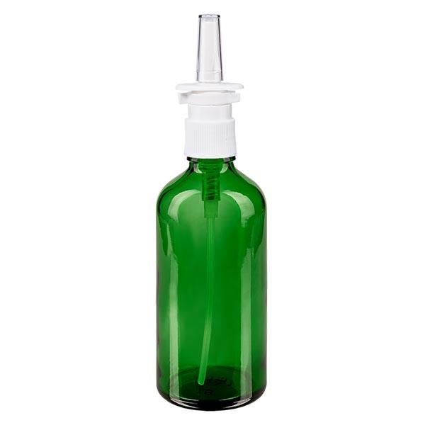 Flacon compte-gouttes vert 100ml avec spray nasal blanc