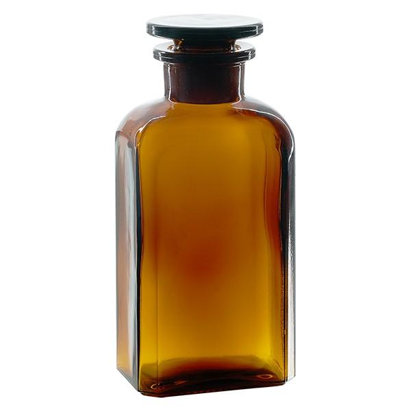 Vierkant-Apothekerflasche 250 ml Weithals Braunglas inkl. Glasstopfen