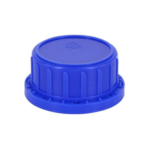 Bouchon à vis inviolable DIN 45 bleu avec insert en PEE, convient aux bouteilles à col large de 250ml (article n°1000002)