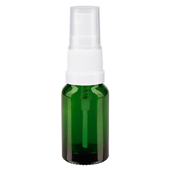 Flacon compte-gouttes vert 10ml avec vaporisateur à pompe blanc