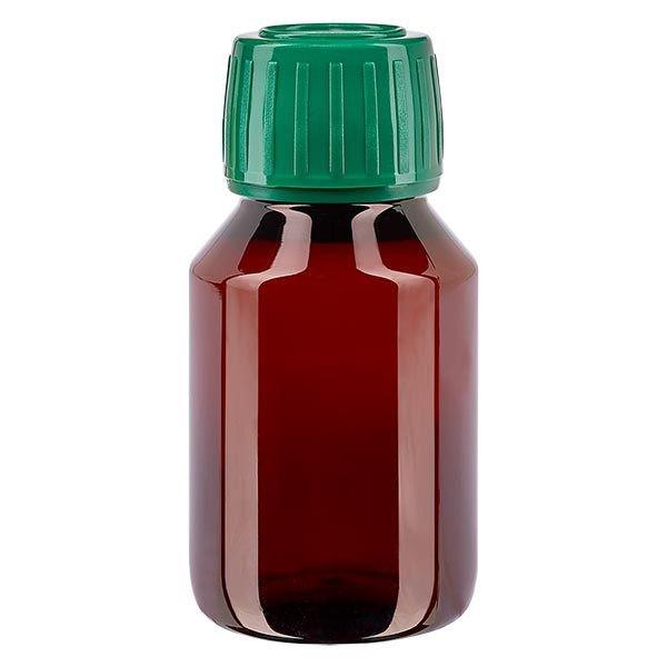 Flacon médical de 50 ml en PET, avec bouchon à vis vert PP28