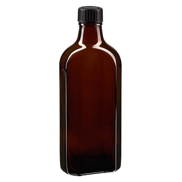 Flasque brune de 200 ml au goulot DIN 22, avec bouchon à vis DIN 22 noir et joint PEE