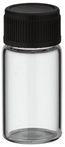 Mini flacon en verre clair 3 ml, filetage M13 avec bouchon à vis noir et joint d'étanchéité