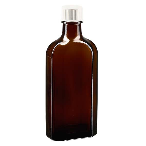 Flasque brune de 150 ml au goulot DIN 22, avec bouchon à vis DIN 22 blanc et bague anti-gouttes