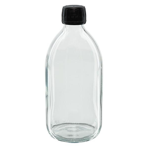 Flacon médical 500 ml couleur claire avec bouchon noir
