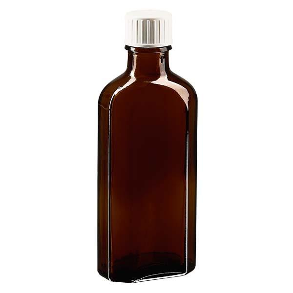 Flasque brune de 100 ml au goulot DIN 22, avec bouchon à vis DIN 22 blanc et bague anti-gouttes