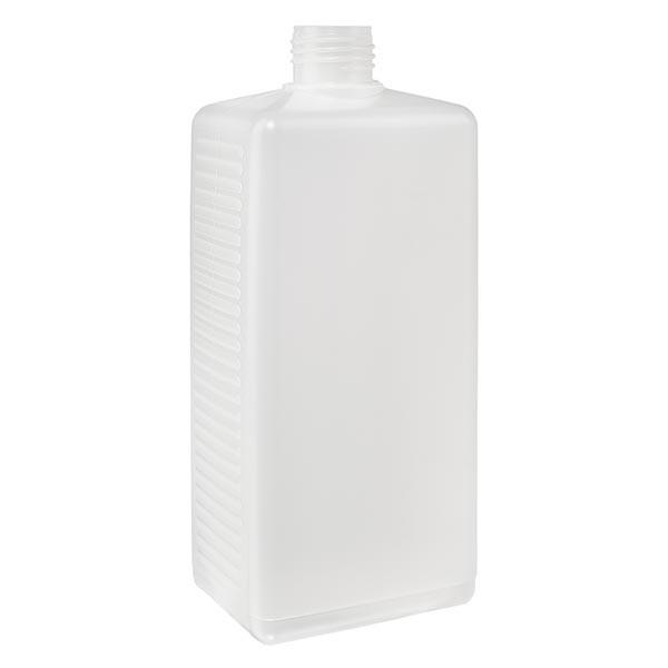 Flacon carré 250 ml en PE clair, ND 25 sans bouchon
