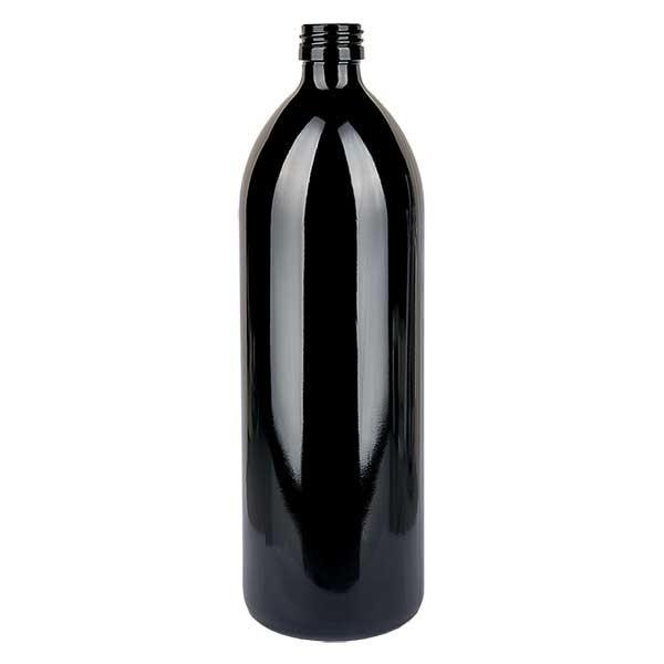 Bouteille d'eau ronde 1000 ml en verre violet, DIN PP28