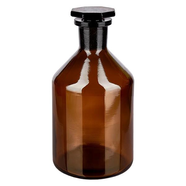Flacon à col étroit et conique 250 ml en verre ambré + bouchon de verre