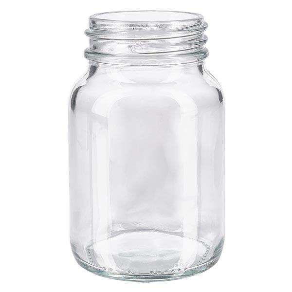 Bocal à col large en verre clair 250 ml, goulot DIN 55, sans couvercle
