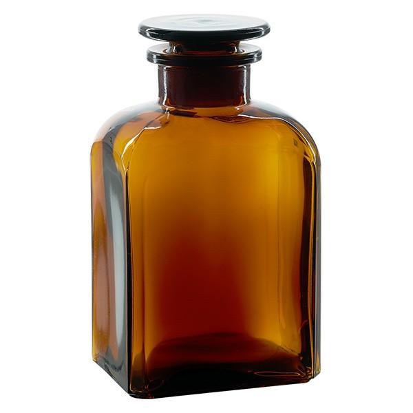 Flacon carré col large 500 ml + bouchon RIN, verre ambré