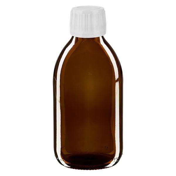 Flacon médical de 250 ml avec bouchon blanc