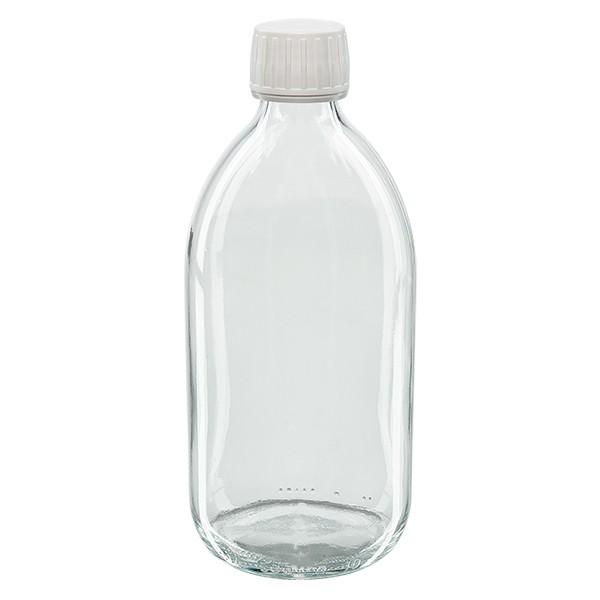 Flacon médical 500 ml couleur claire avec bouchon blanc