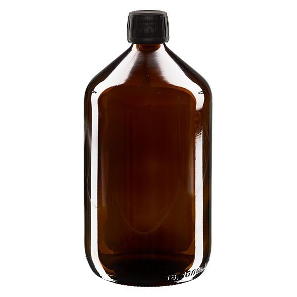 Flacon médical 1000 ml couleur ambrée avec bouchon noir