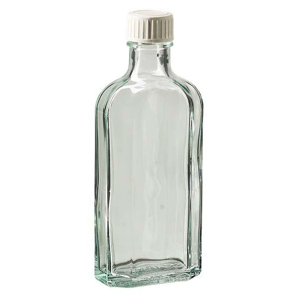 Flasque transparente de 125 ml au goulot DIN 22, avec bouchon à vis DIN 22 blanc en PP et joint mousse en PE