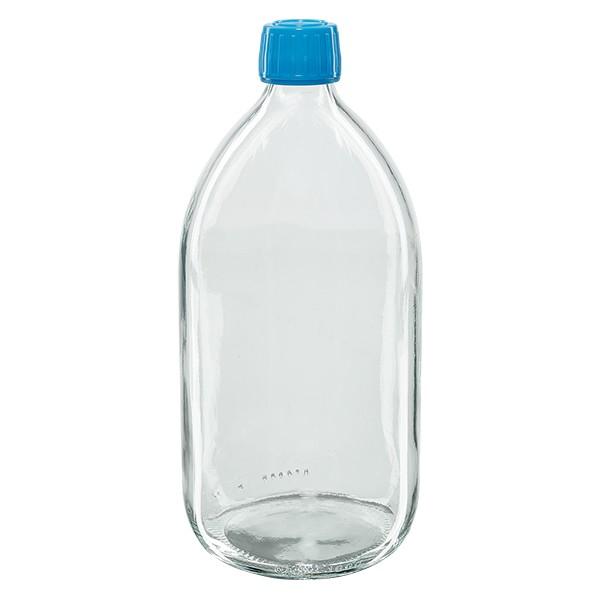 Flacon médical 1000 ml couleur claire avec bouchon bleue