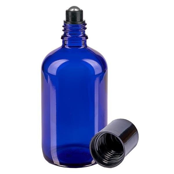Flacon de déodorant en verre bleu 100 ml, déo à bille vide