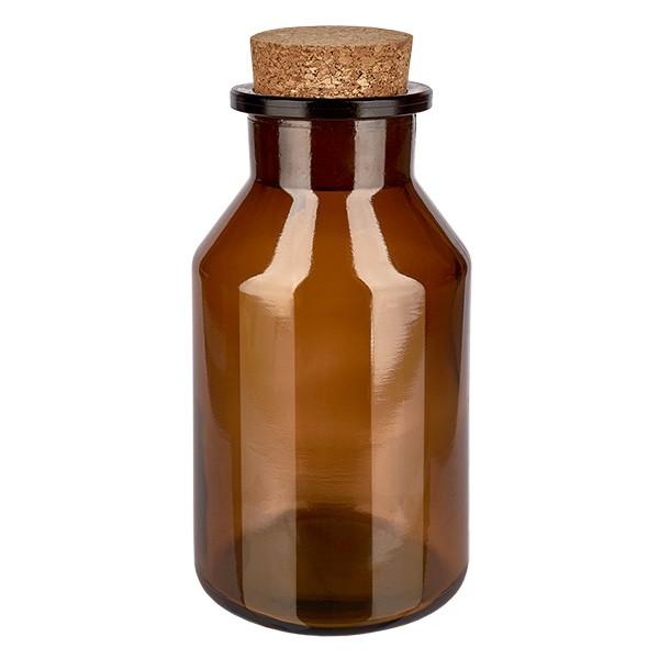 Flacon à col conique et large 500 ml en verre ambré + bouchon de liège