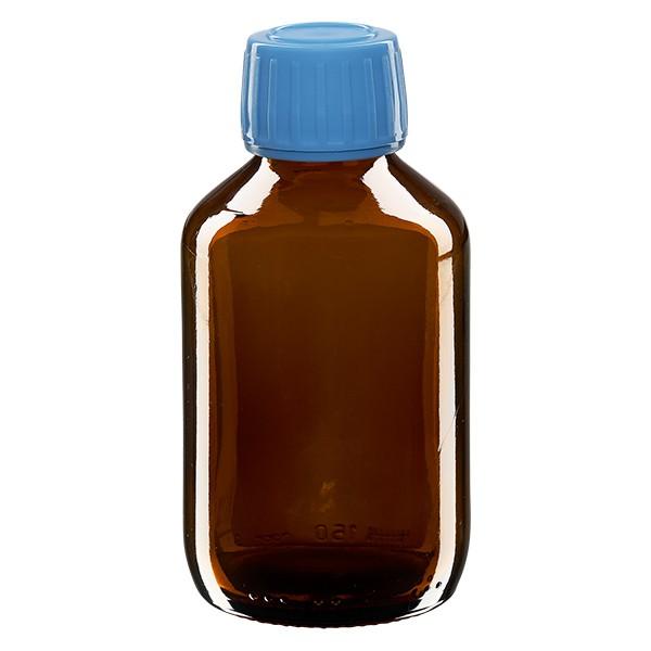 Flacon médical 150 ml couleur ambrée avec bouchon bleue