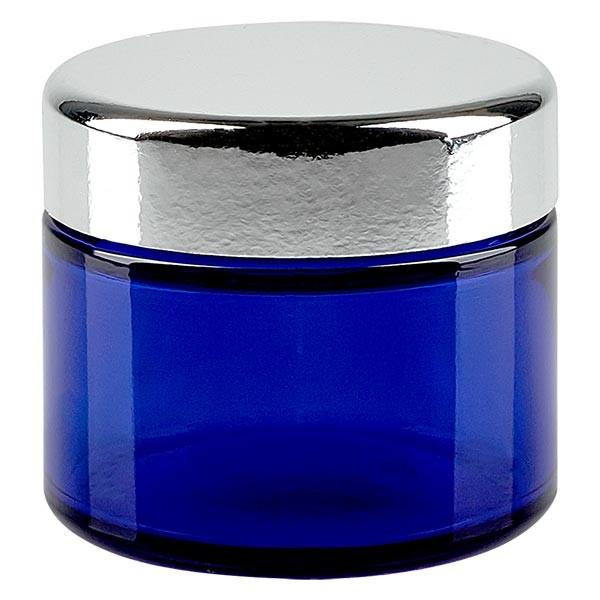 Pot en verre bleu roi 50 ml, avec couvercle, filetage 52 mm