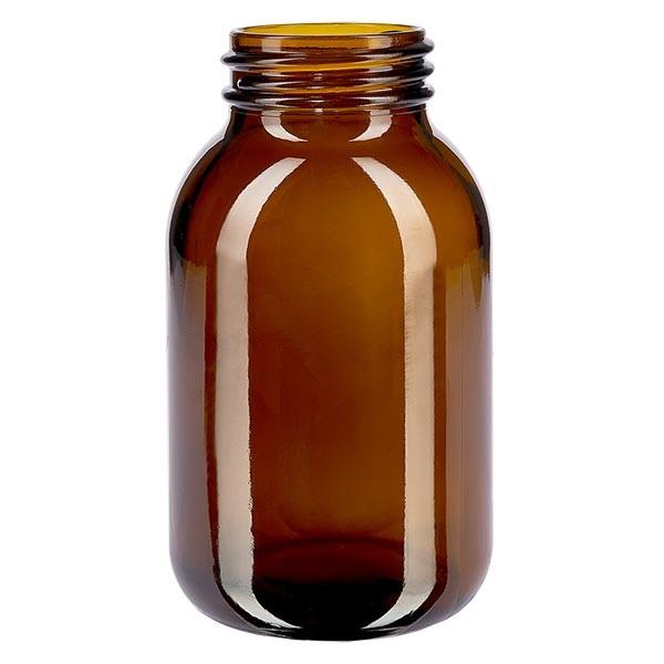 Bocal à col large en verre ambré 500 ml, goulot DIN 55, sans couvercle