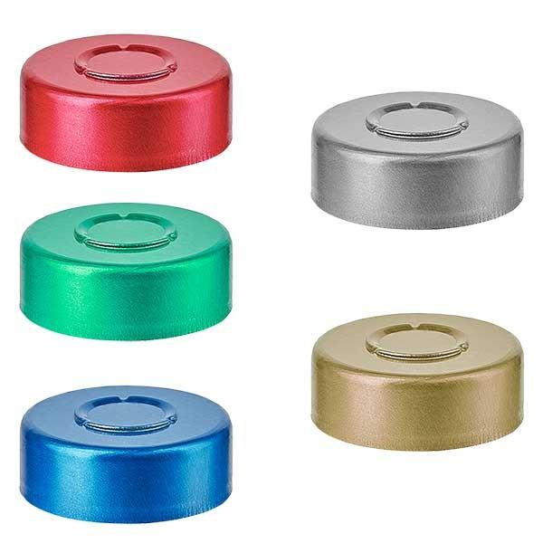 Capsules à sertir 20,25x7,4 mm à arracher AU MILIEU, couleur au choix