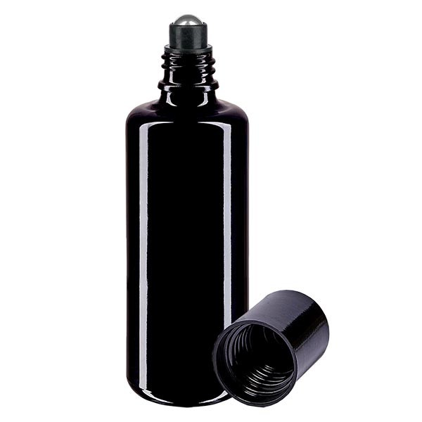 Flacon de déodorant en verre violet 50 ml, déo à bille vide