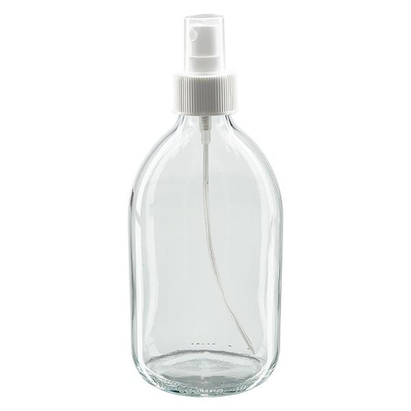 Flacon médical 500 ml couleur claire avec vaporisateur à pompe blanc