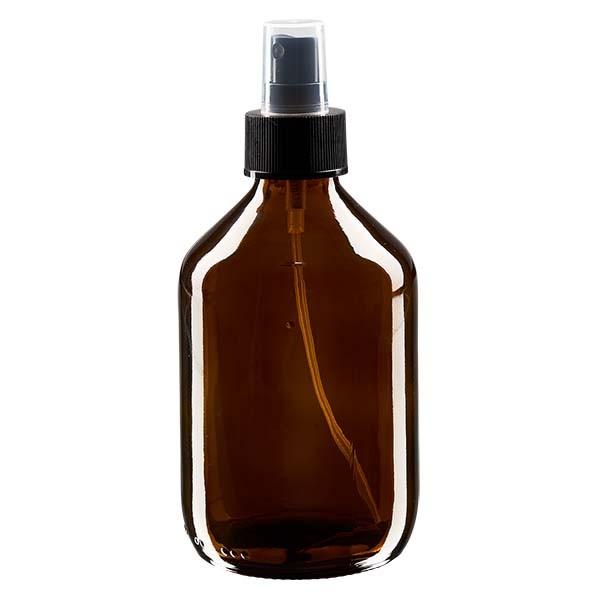 Flacon médical norme européenne de 300 ml avec spray noir GCMI 28/410 et couvercle transparent, standard