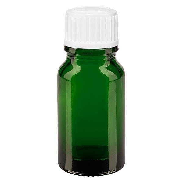 Flacon pharmaceutique vert 10 ml bouchon compte-gouttes 0.8 mm blanc standard