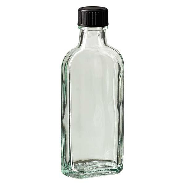 Flasque transparente de 100 ml au goulot DIN 22, avec bouchon à vis DIN 22 noir et joint PEE