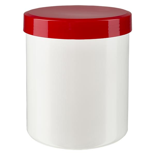 Pot à onguent blanc 200 g avec couvercle rouge (PP)