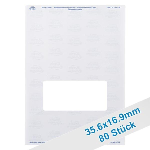 80 étiquettes amovibles blanches, 36x17 mm