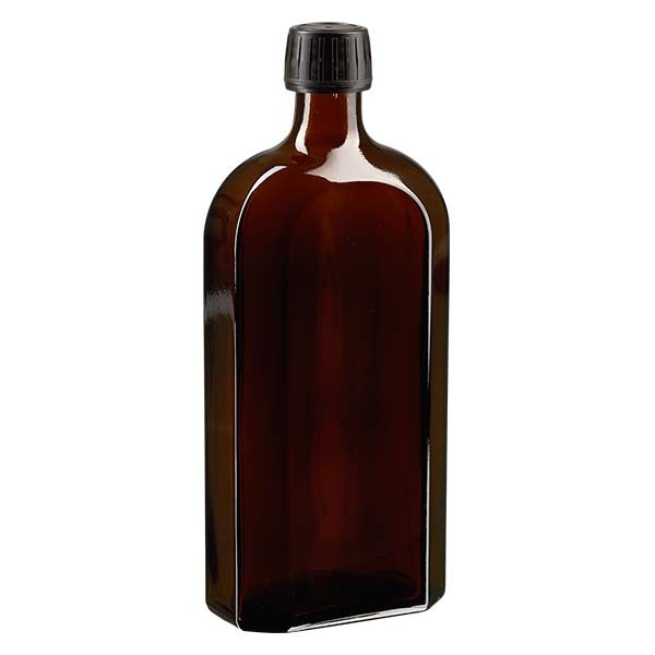Flasque brune de 500 ml au goulot PP 28, avec bouchon à vis PP 28 noir, joint en PEE et système d'inviolabilité