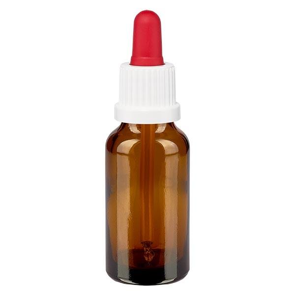 Flacon brun 20 ml + pipette rouge et blanche à système d'inviolabilité