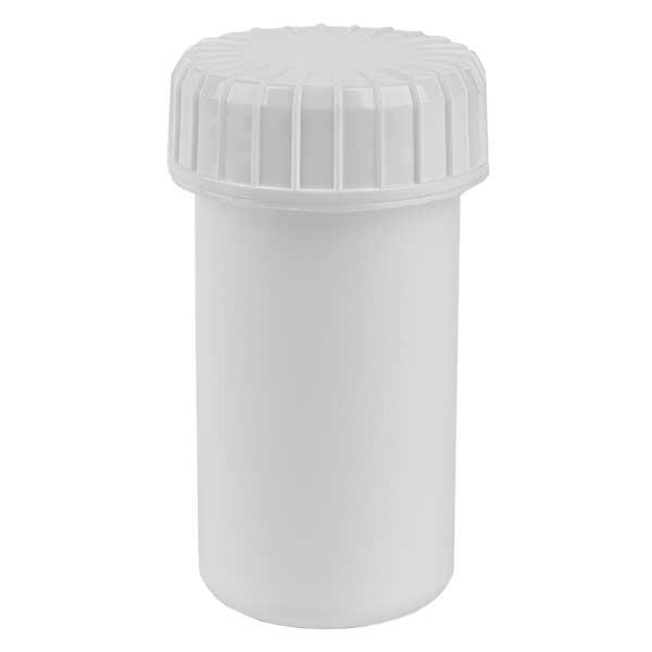 Pot en plastique blanc 20 ml + couvercle à vis blanc strié en PE, fermeture standard