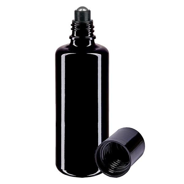 Flacon de déodorant en verre violet 100 ml, déo à bille vide