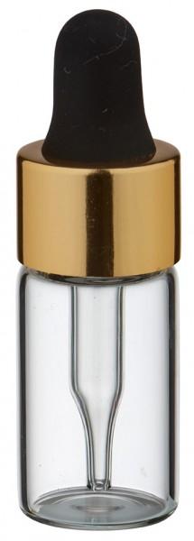 Mini flacon transparent de 3 ml, avec pipette compte-gouttes PL28 dorée/noire